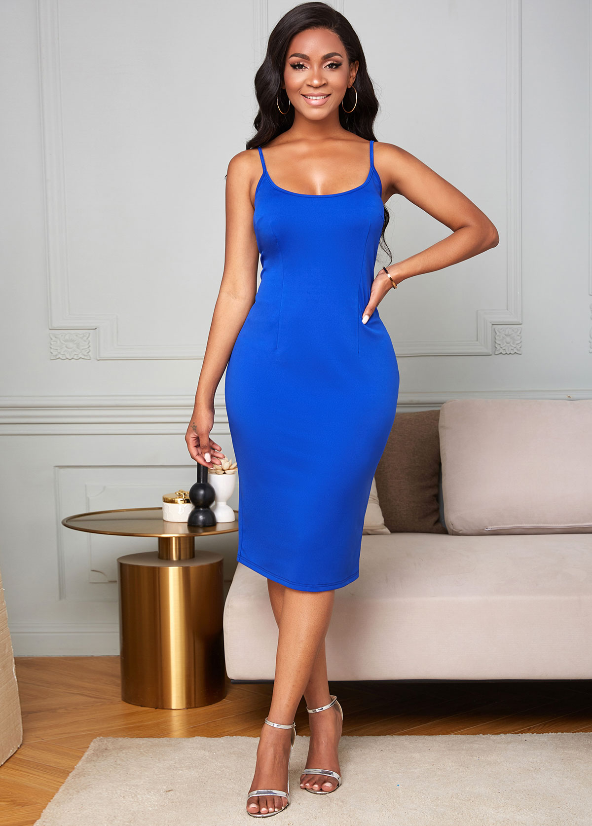 Spaghetti Strap Back Slit Solid Dress