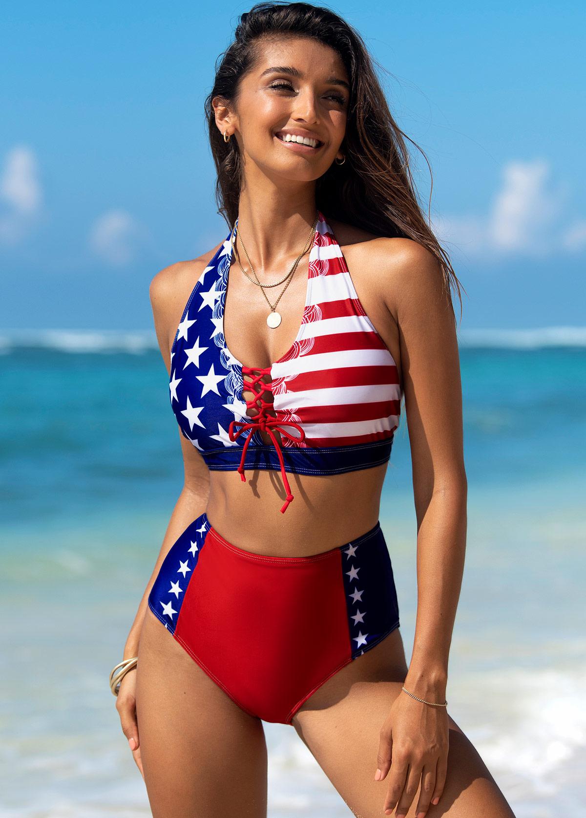 American Flag Print Lace Up Bikini Set