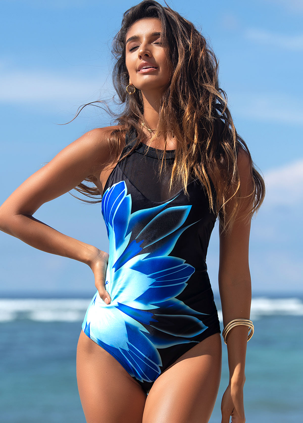 Blue Floral Print Mesh Stitching One Piece Swimwear