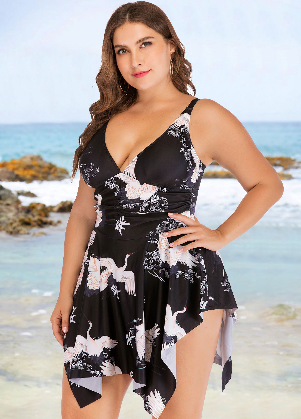 Plus Size Asymmetric Hem Crane Print One Piece Swimwear