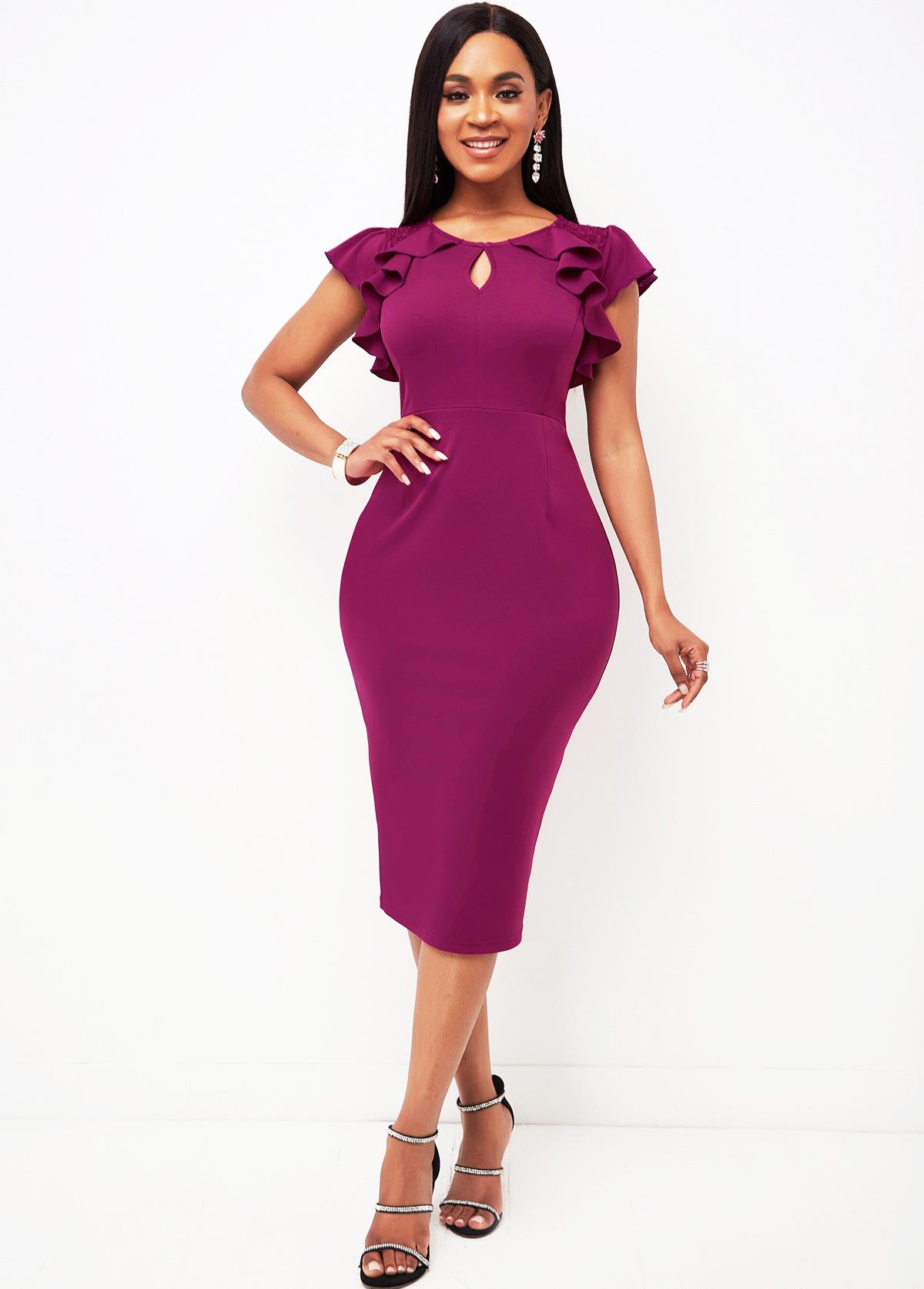 Lace Stitching Ruffle Sleeve Keyhole Neckline Dress