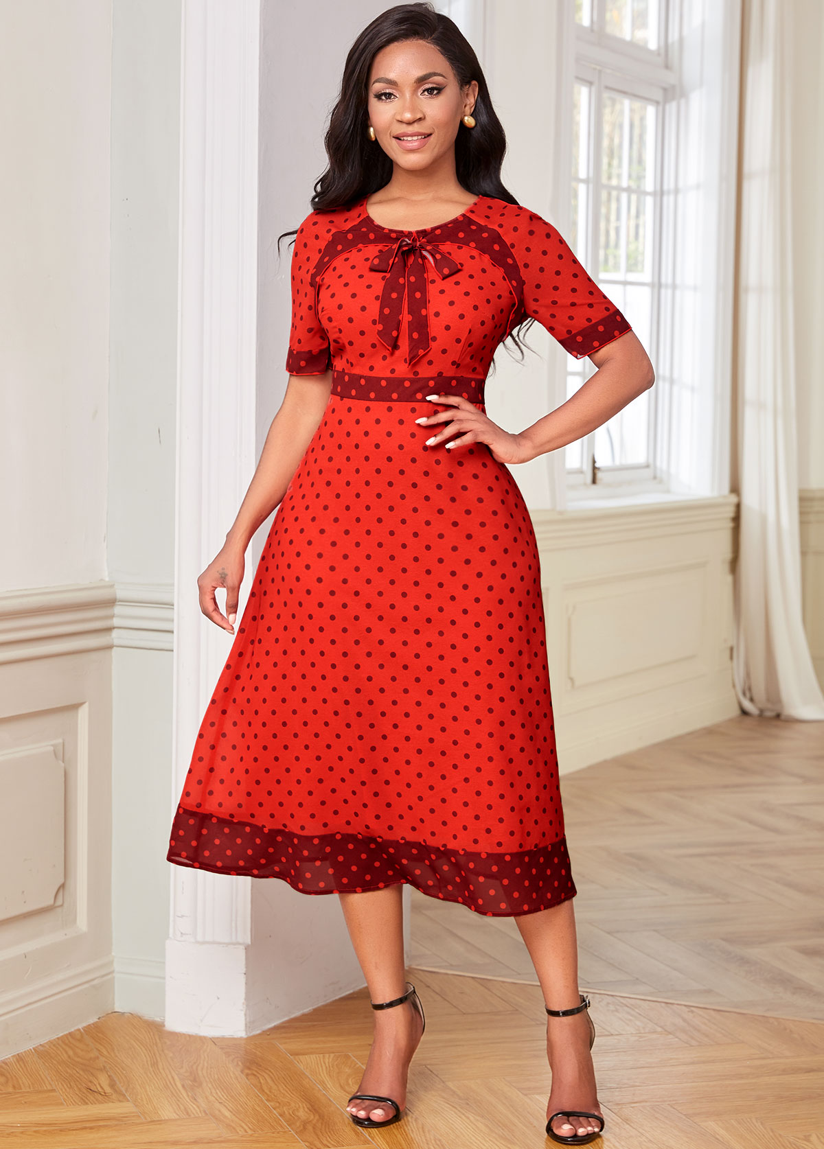 Polka Dot Short Sleeve Bowknot Dress