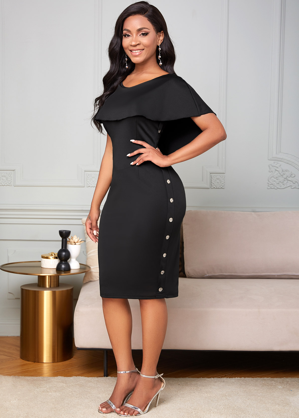 Inclined Button Ruffle Overlay Bodycon Dress