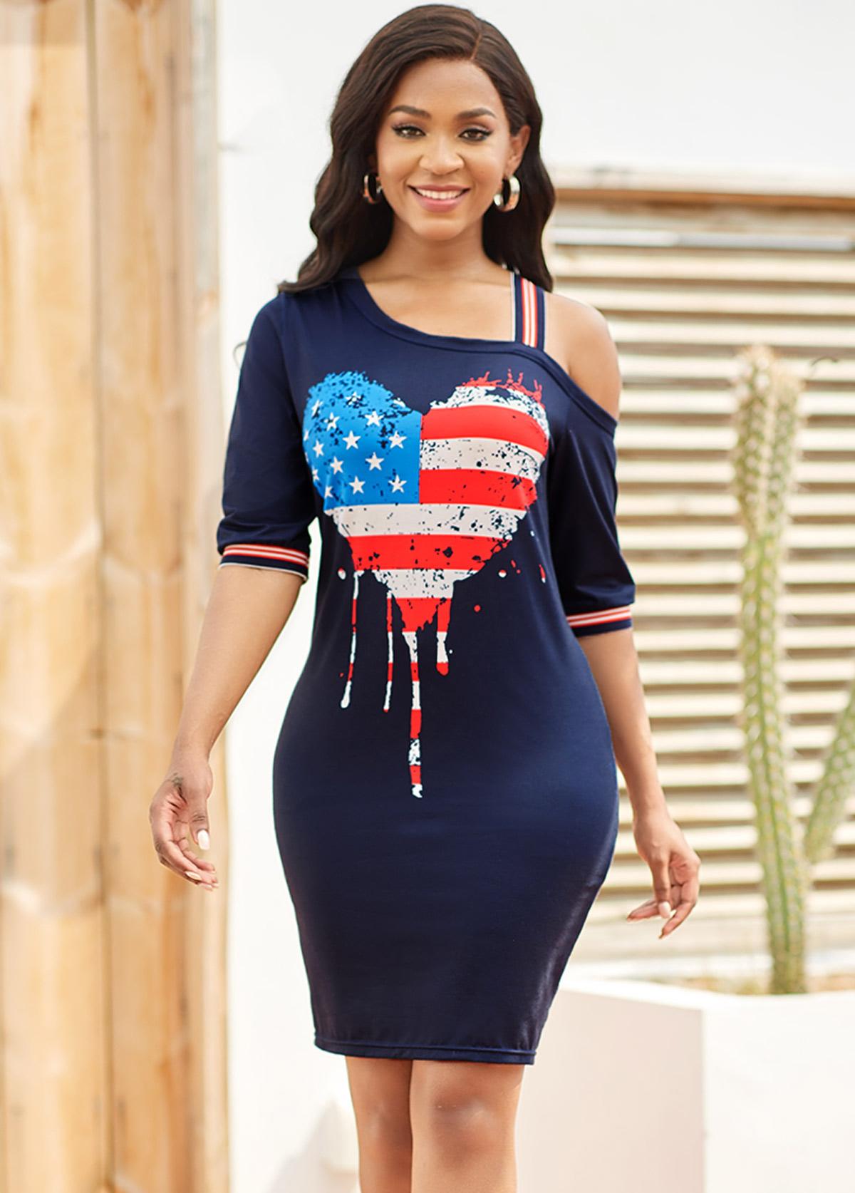 Cold Shoulder American Flag Print Bodycon Dress