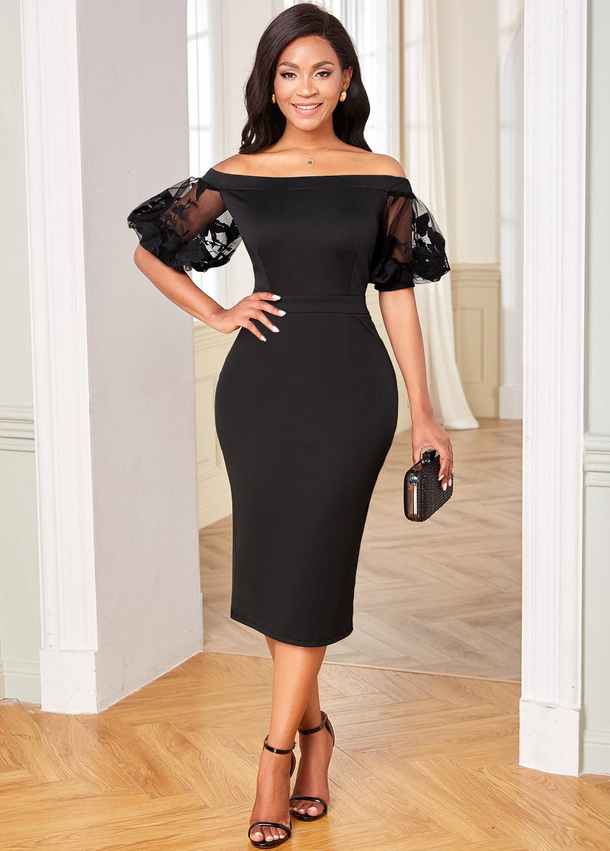 Off Shoulder Mesh Stitching Half Sleeve Dress
