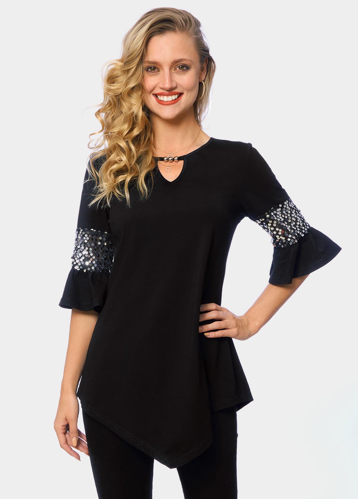 Keyhole Neckline Asymmetric Hem Sequin T Shirt