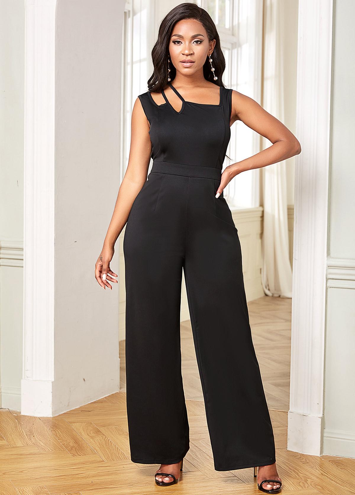 Tie Back Sleeveless Solid Straight Jumpsuit