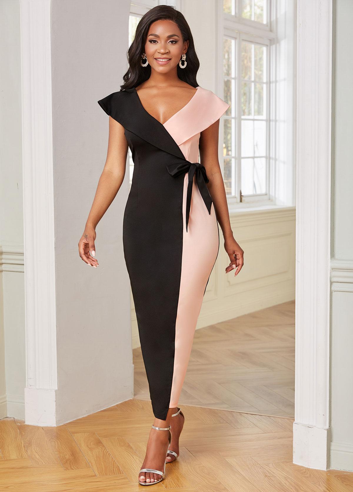 V Neck Color Block Side Back Bodycon Dress