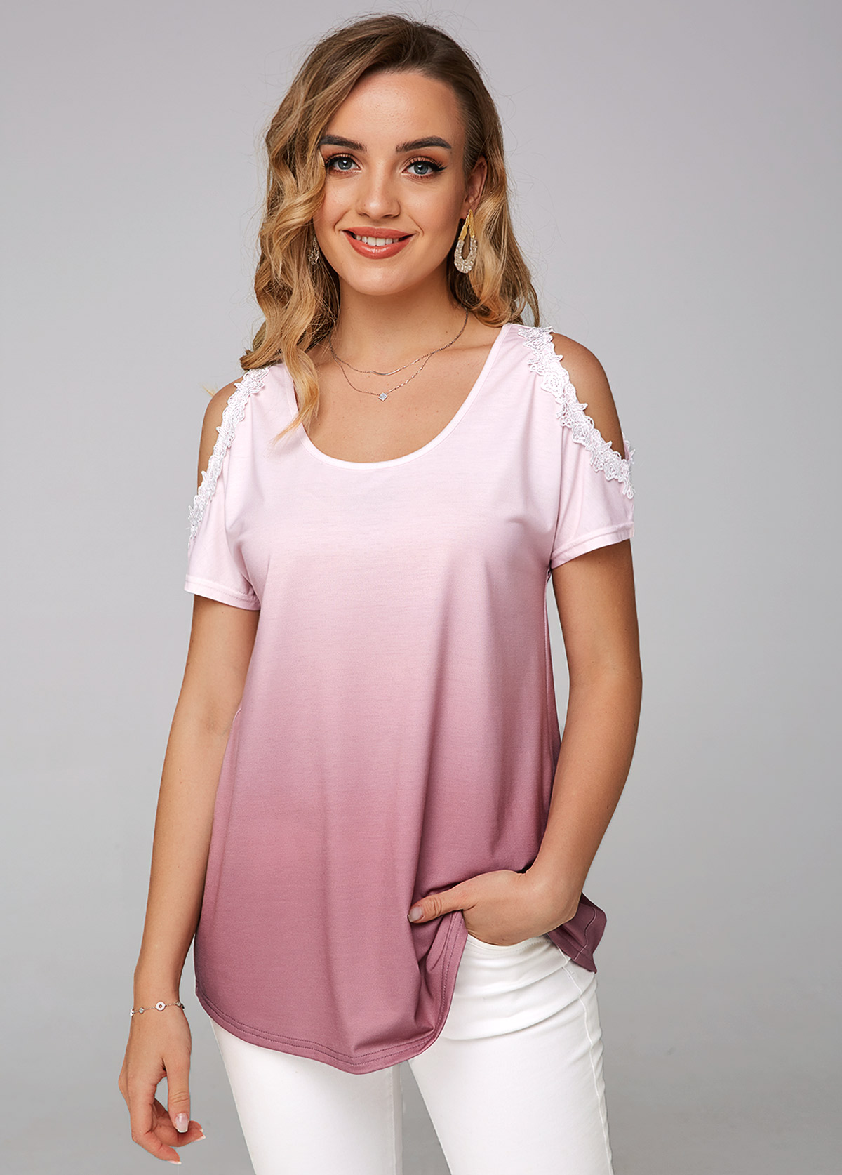 Tie Dye Print Cold Shoulder Lace Stitching T Shirt
