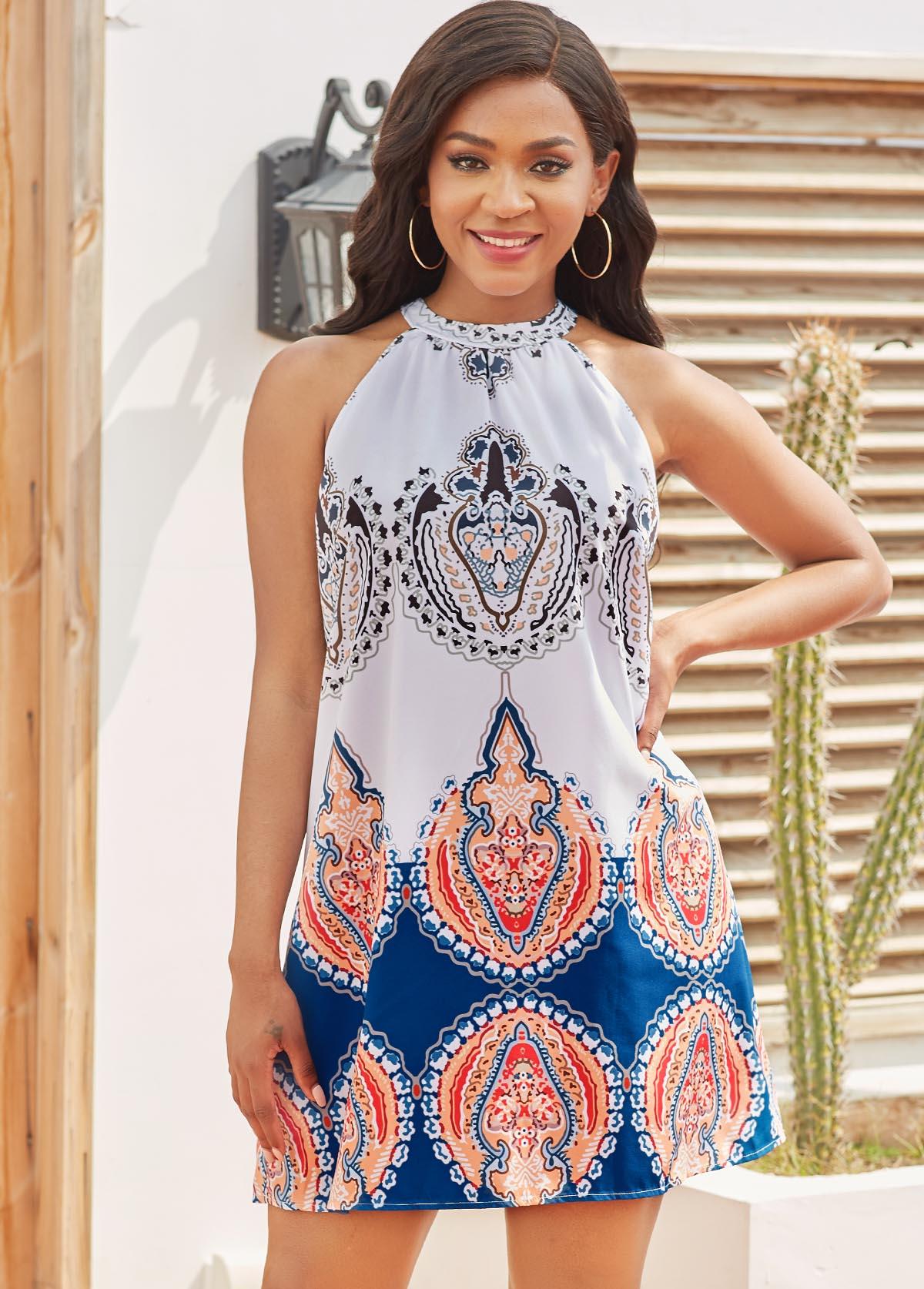 Tribal Print Tie Back Sleeveless Dress