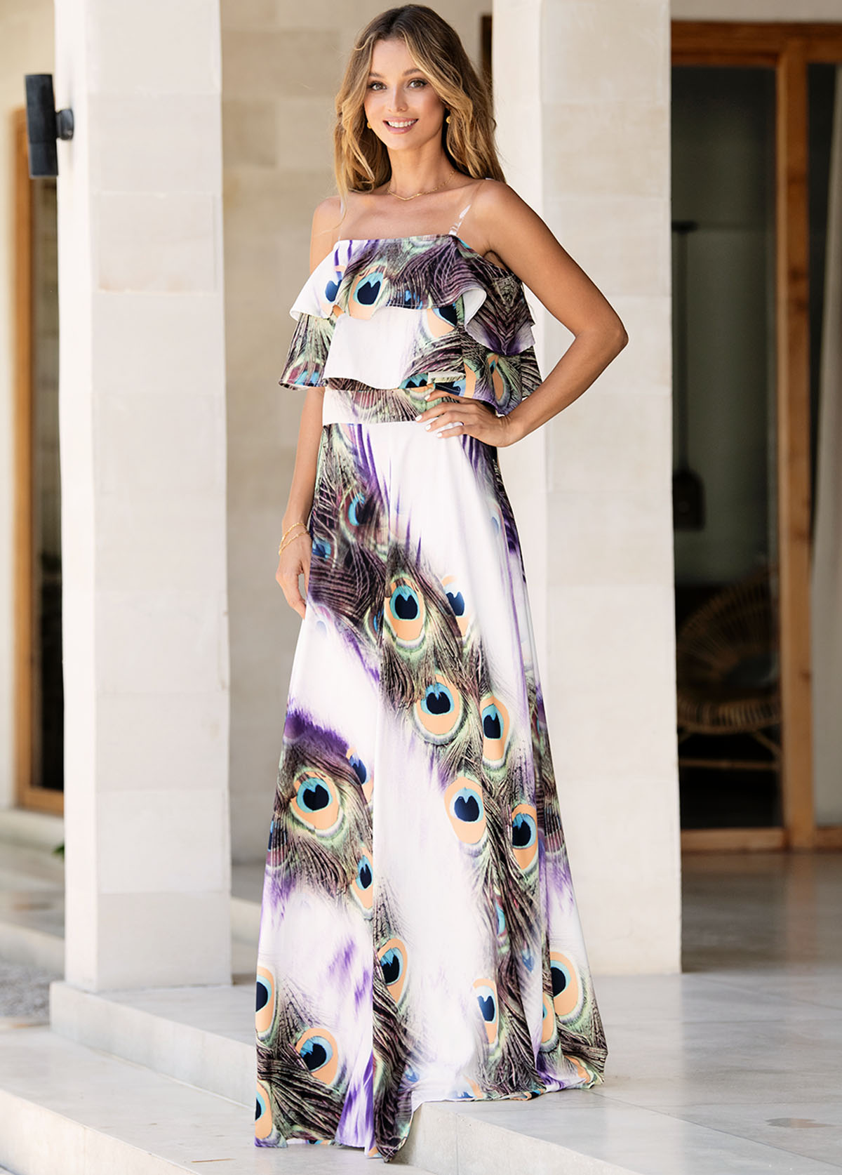 One Shoulder Spaghetti Strap Peacock Feathers Print Dress