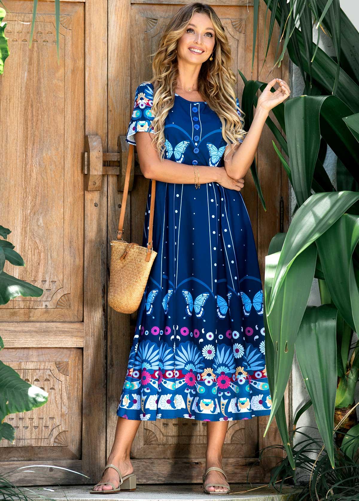Printed Round Neck Short Sleeve Dress