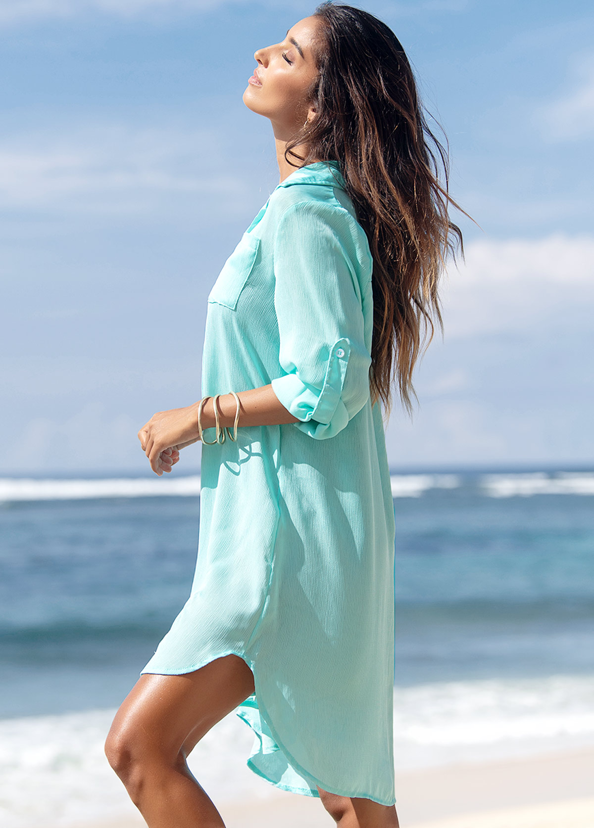 Double Pocket Turndown Collar Button Up Cover Up