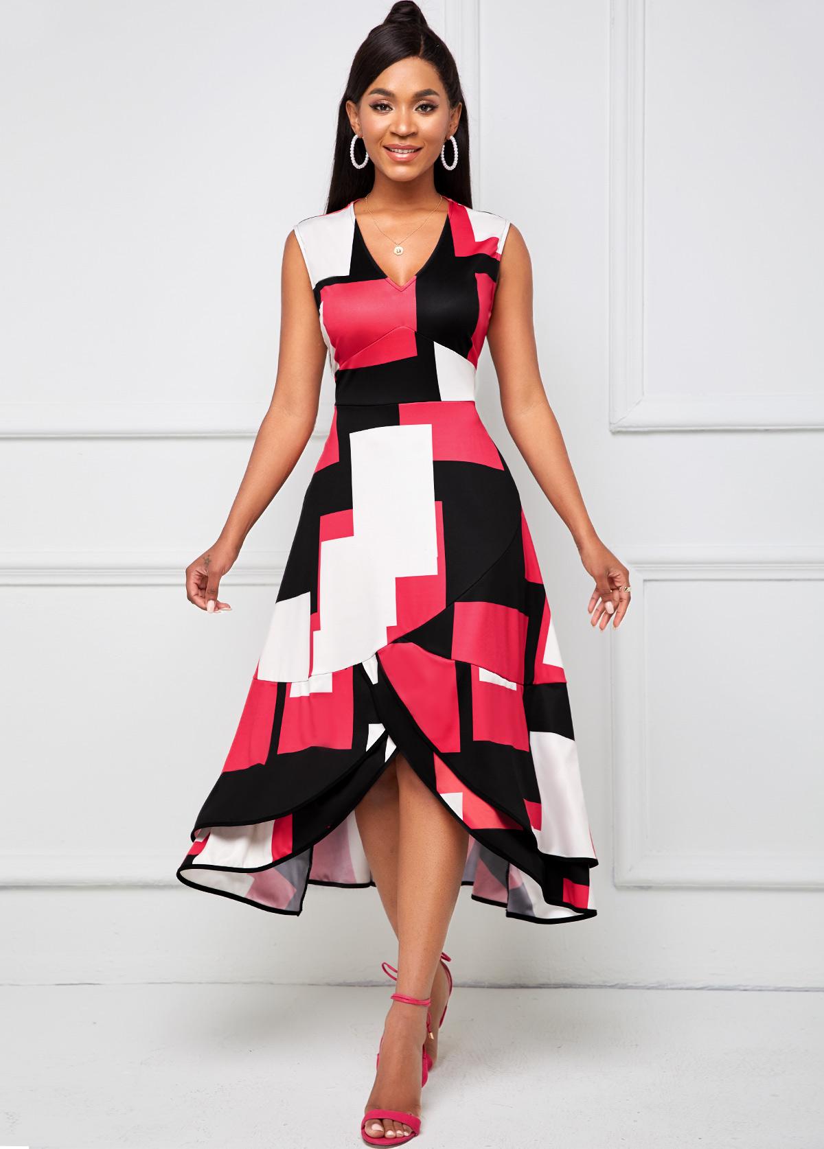 Geometric Print V Neck Sleeveless Dress