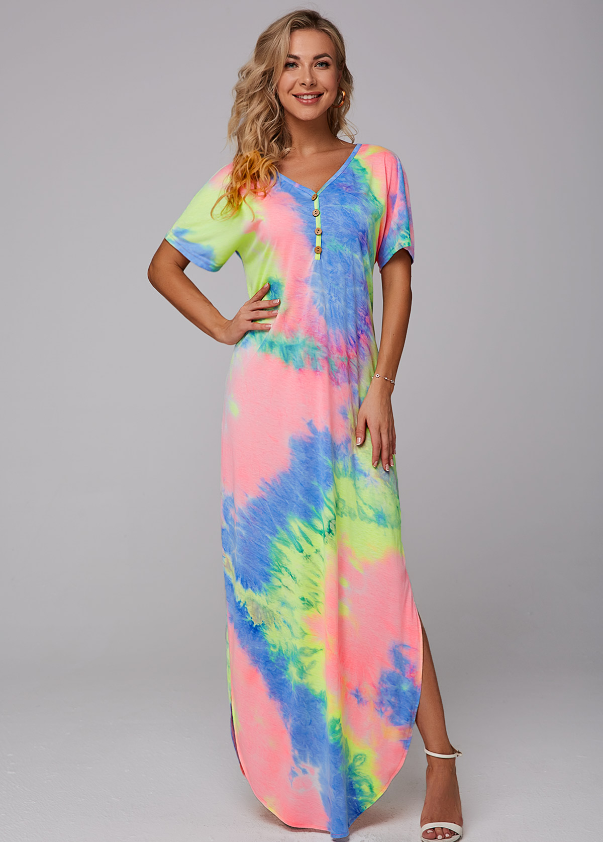 Tie Dye Print Side Slit Maxi Dress