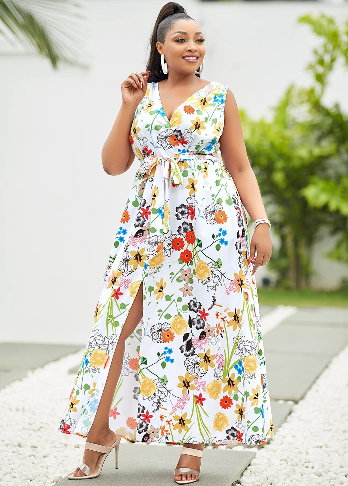 Plus Size Floral Print Side Slit Dress
