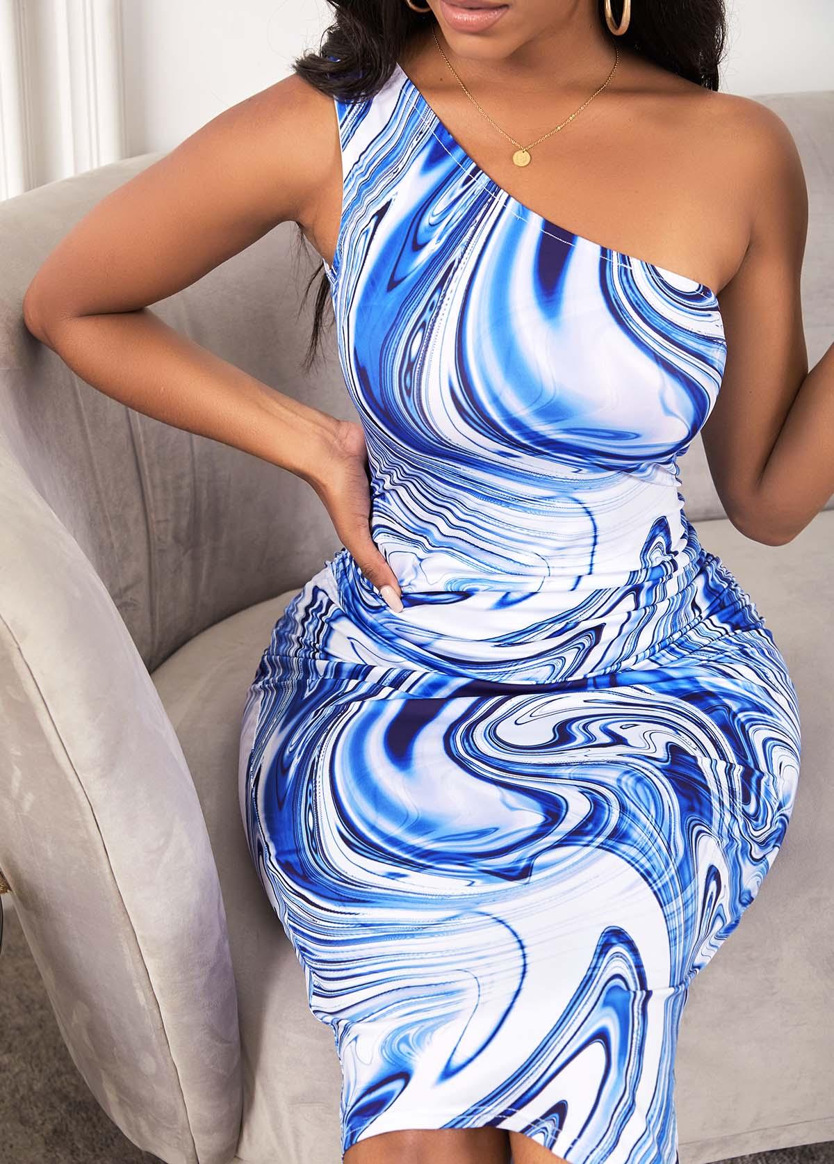 One Shoulder Printed Skew Neck Bodycon Dress