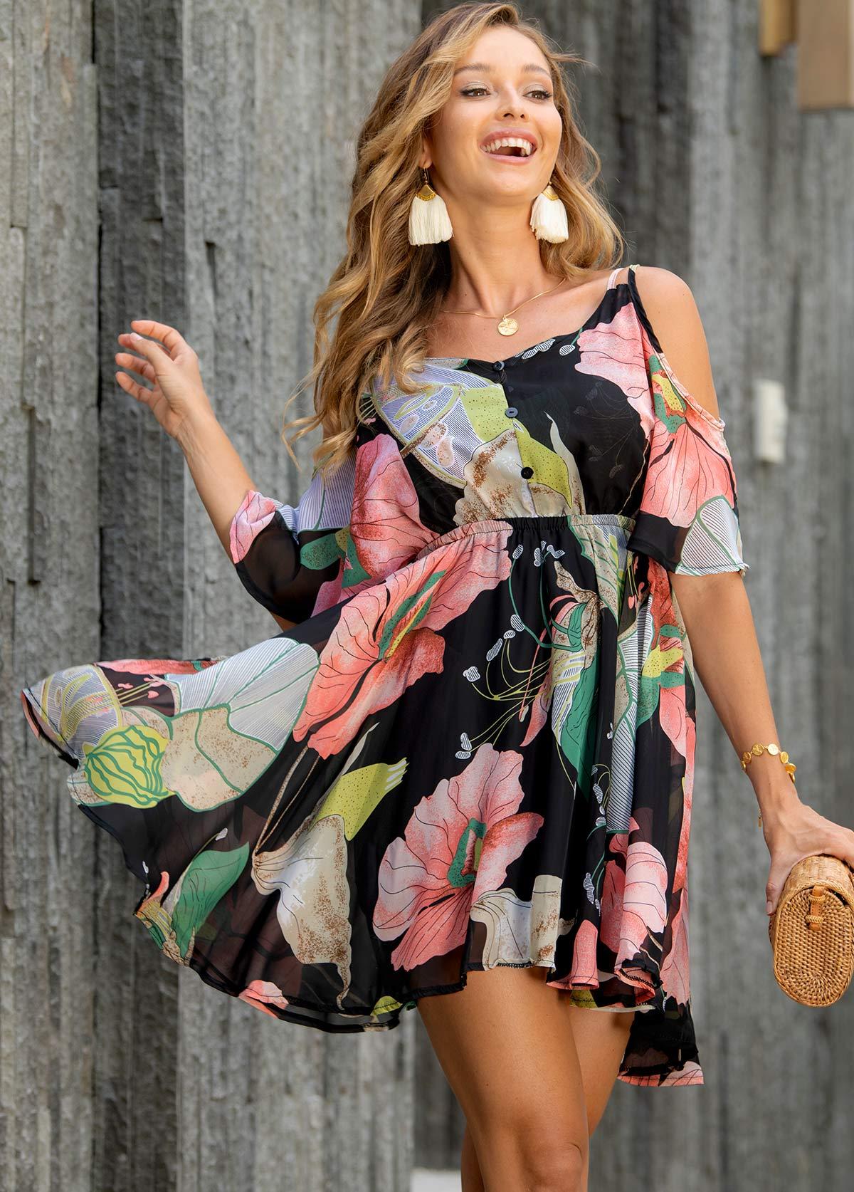 Strappy Cold Shoulder Floral Print Dress