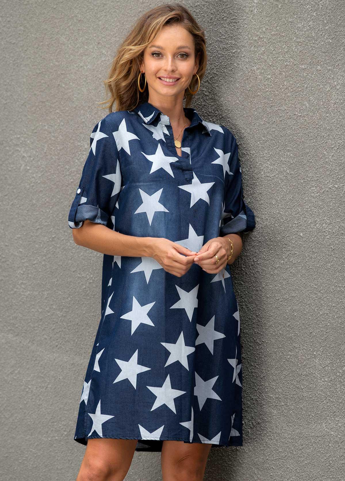 V Neck Star Print Roll Tab Sleeve Dress