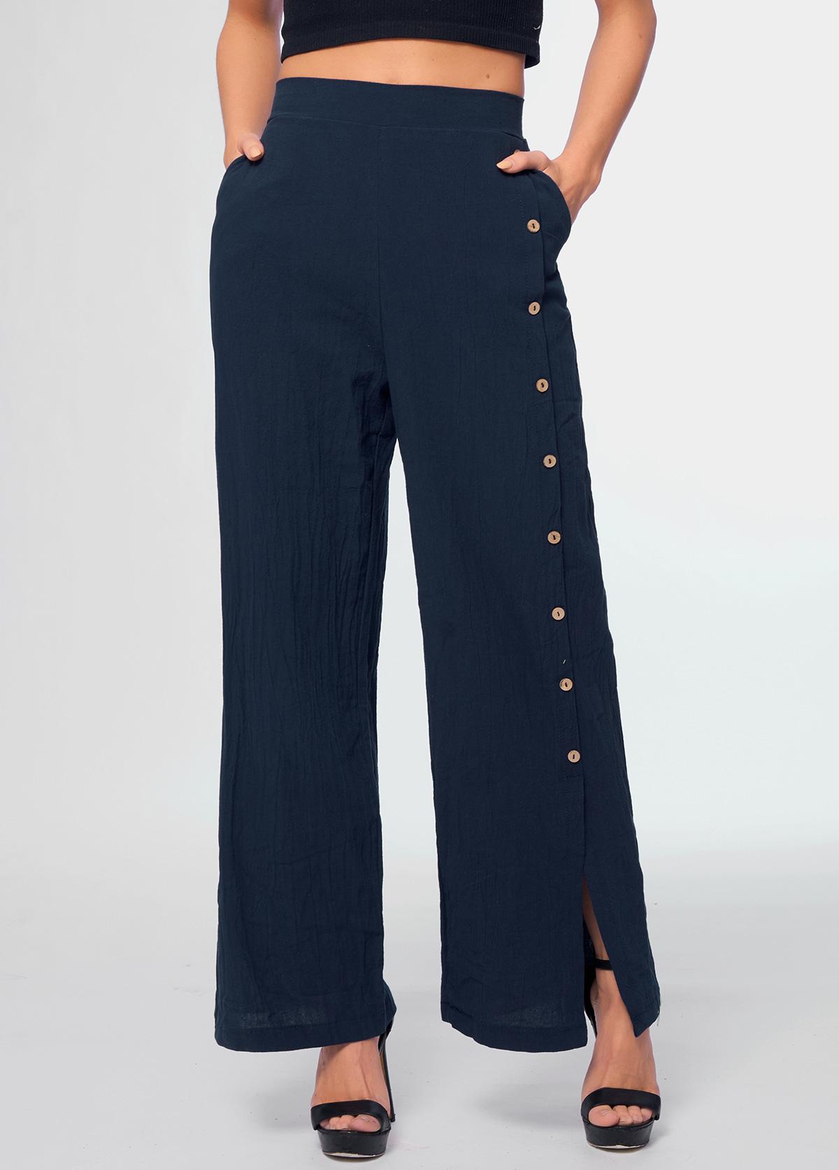 Button Detail High Waist Pocket Pants