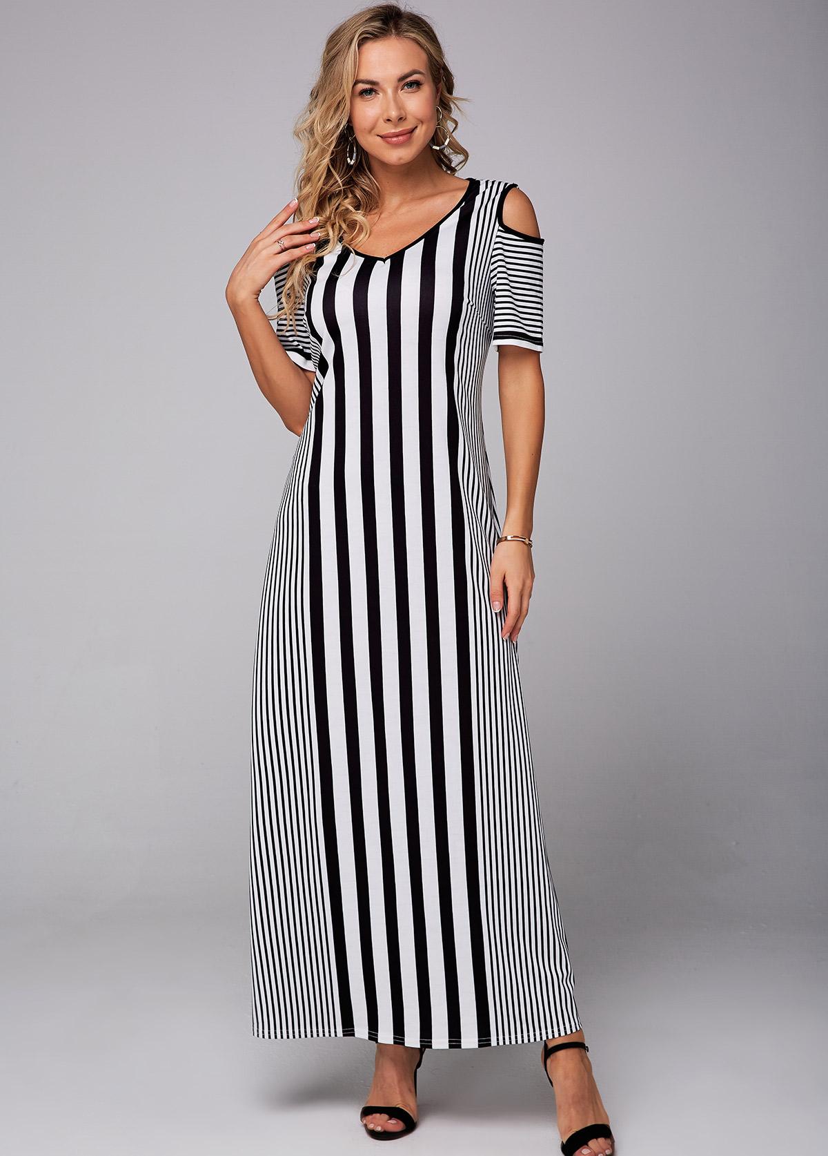 Striped V Neck Cold Shoulder Maxi Dress