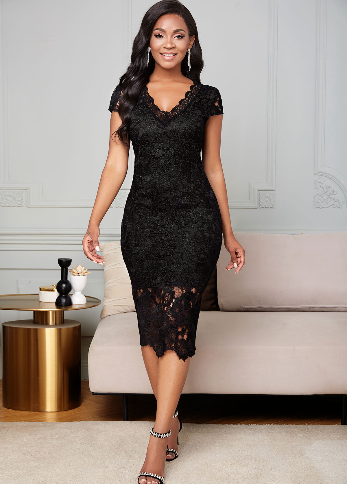 V Neck Lace Short Sleeve Bodycon Dress
