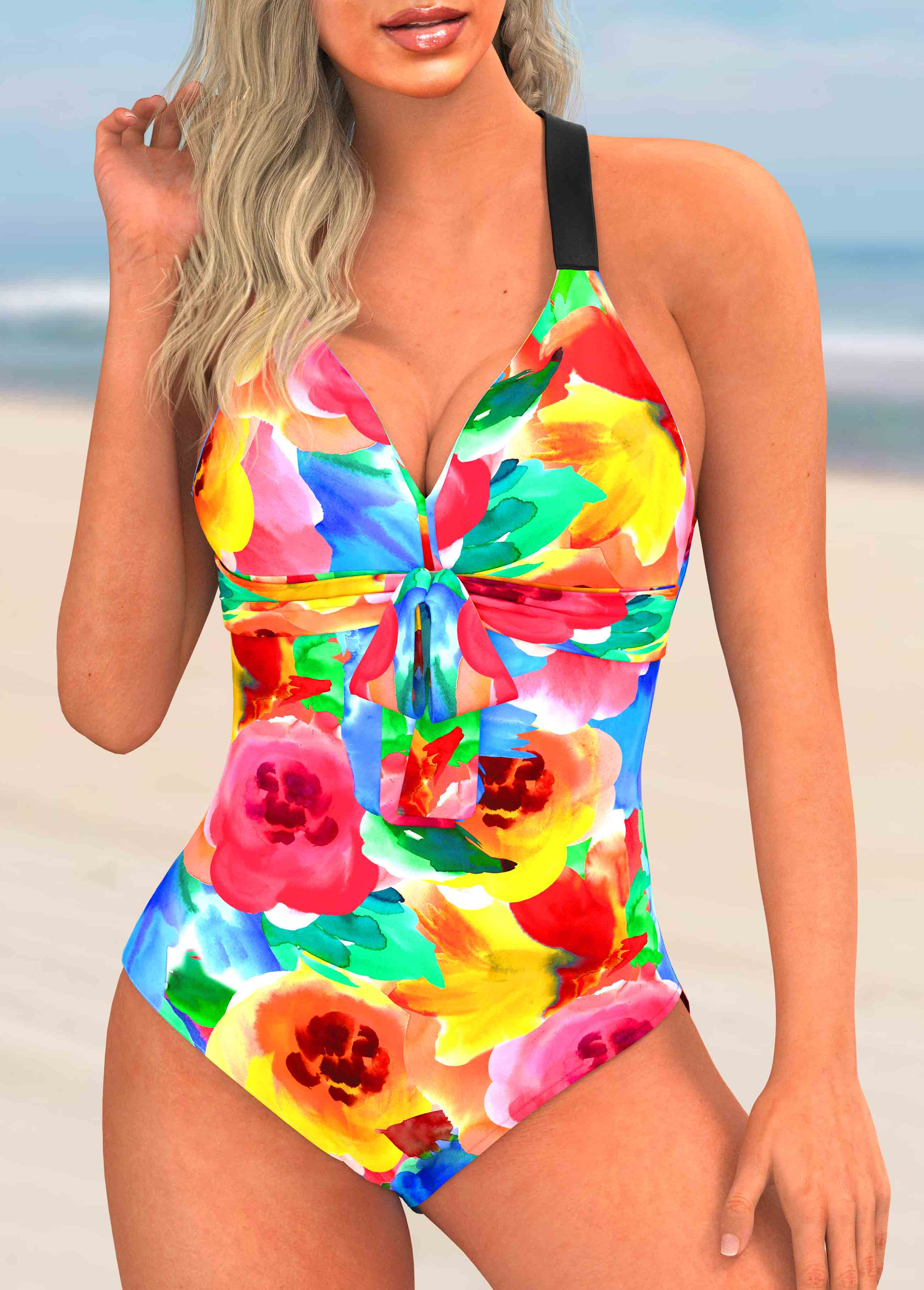 Floral Print Bowknot One Piece Swimwear