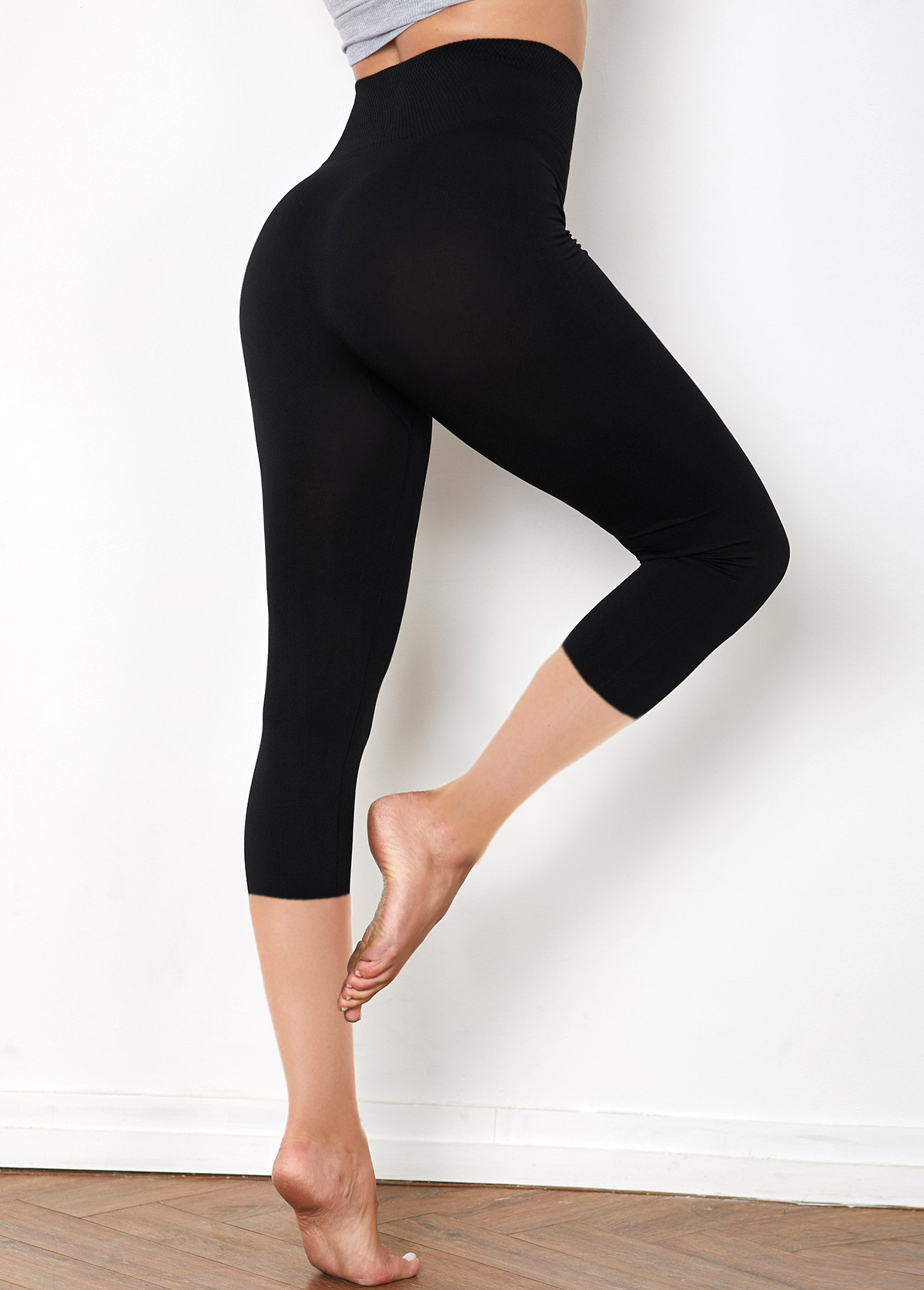 High Waist Solid Cropped Legging Pants