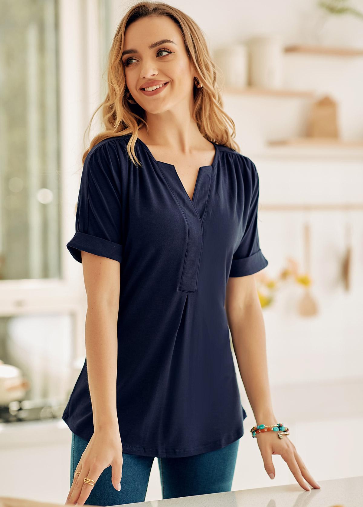 Split Neck Short Sleeve Solid T Shirt