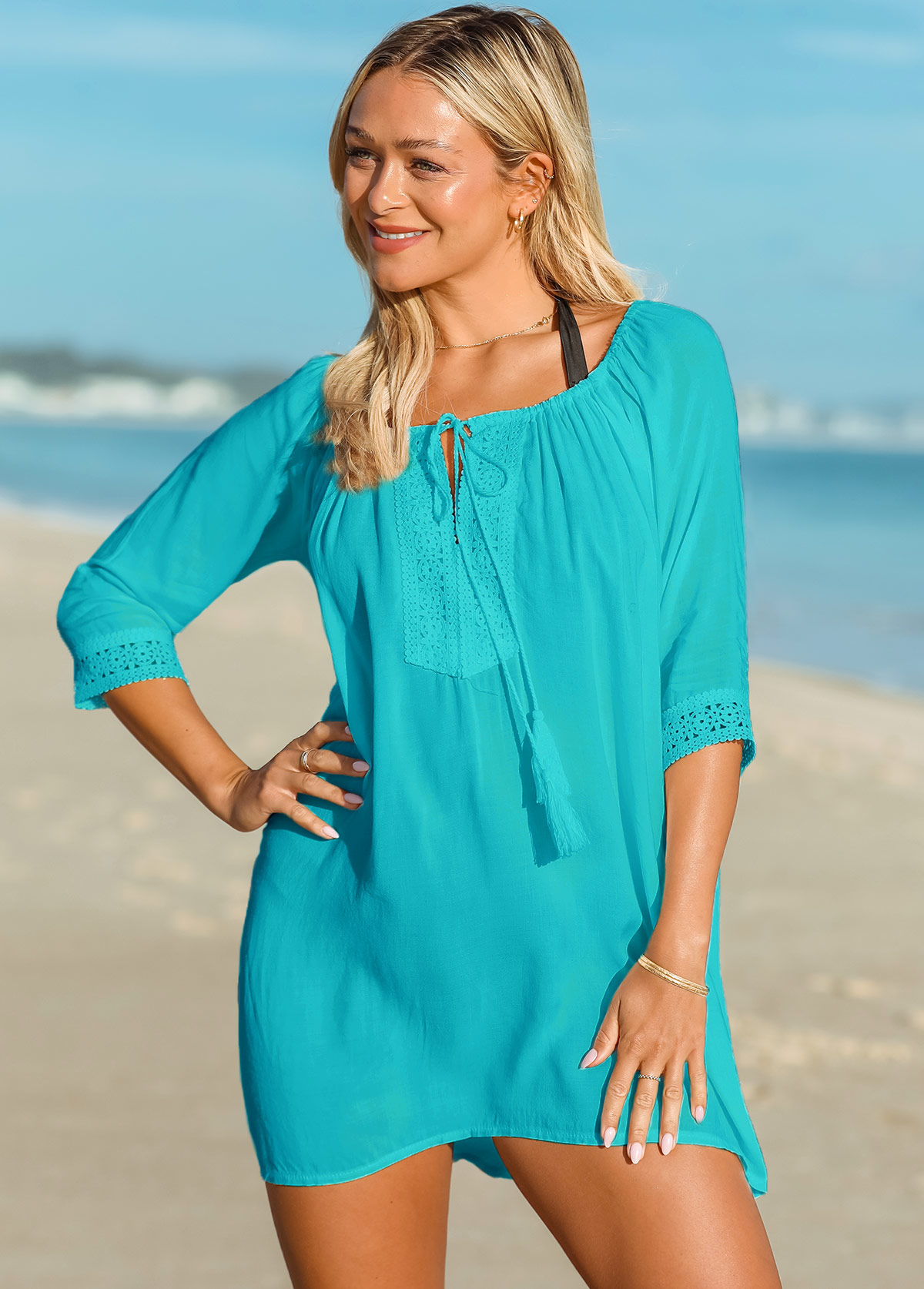 Lace Stitching Tassel Tie Cover Up