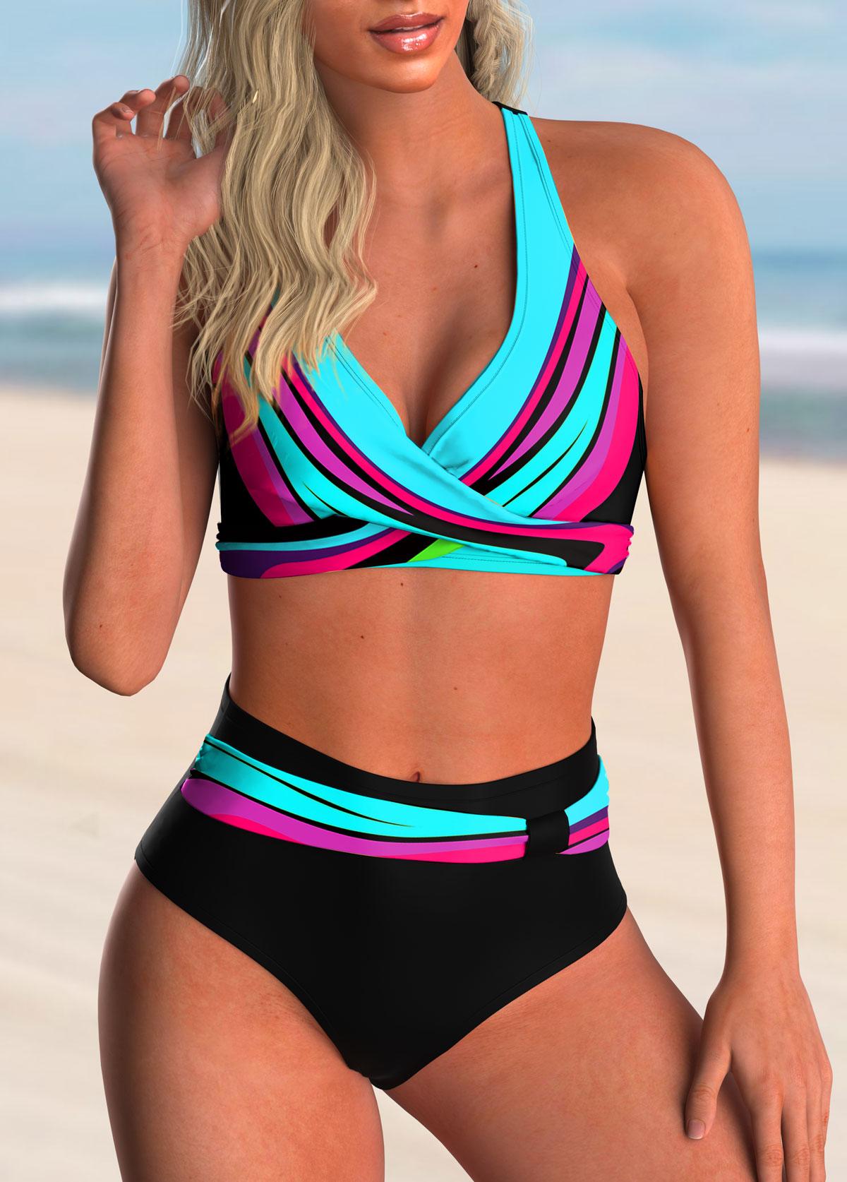 High Waisted Colorful Printed Cross Front Bikini Set