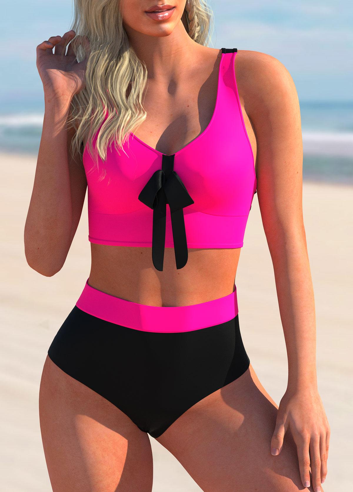 Criss Cross Back Bowknot Printed Bikini Set