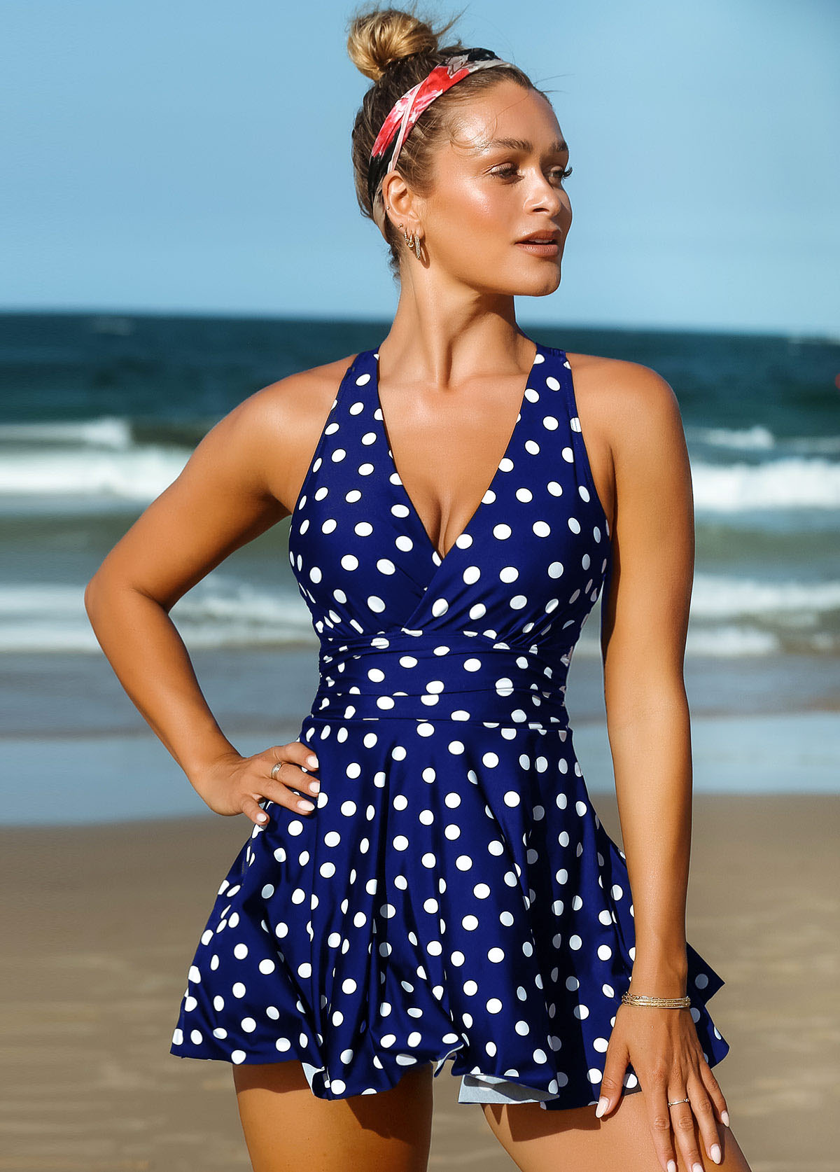 Polka Dot Criss Cross Back Swimdress and Shorts