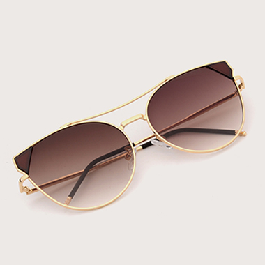 1 Pair Round Frame Brown Metal Sunglasses