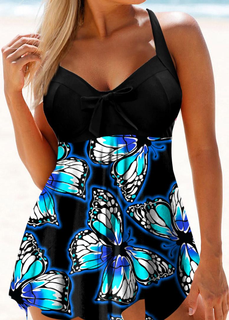 Butterfly Print Asymmetric Hem Swimdress and Panty