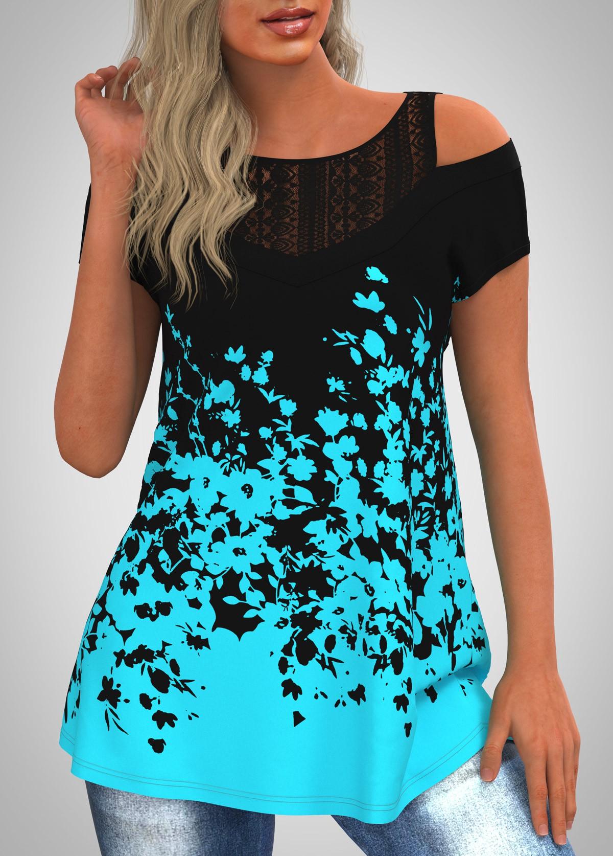 Cold Shoulder Lace Panel Floral Print T Shirt