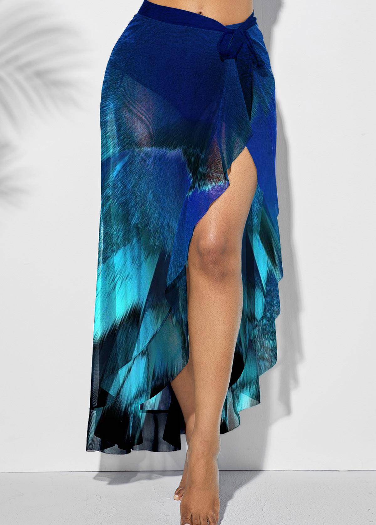 Side Slit Asymmetric Hem One Piece Beach Skirt