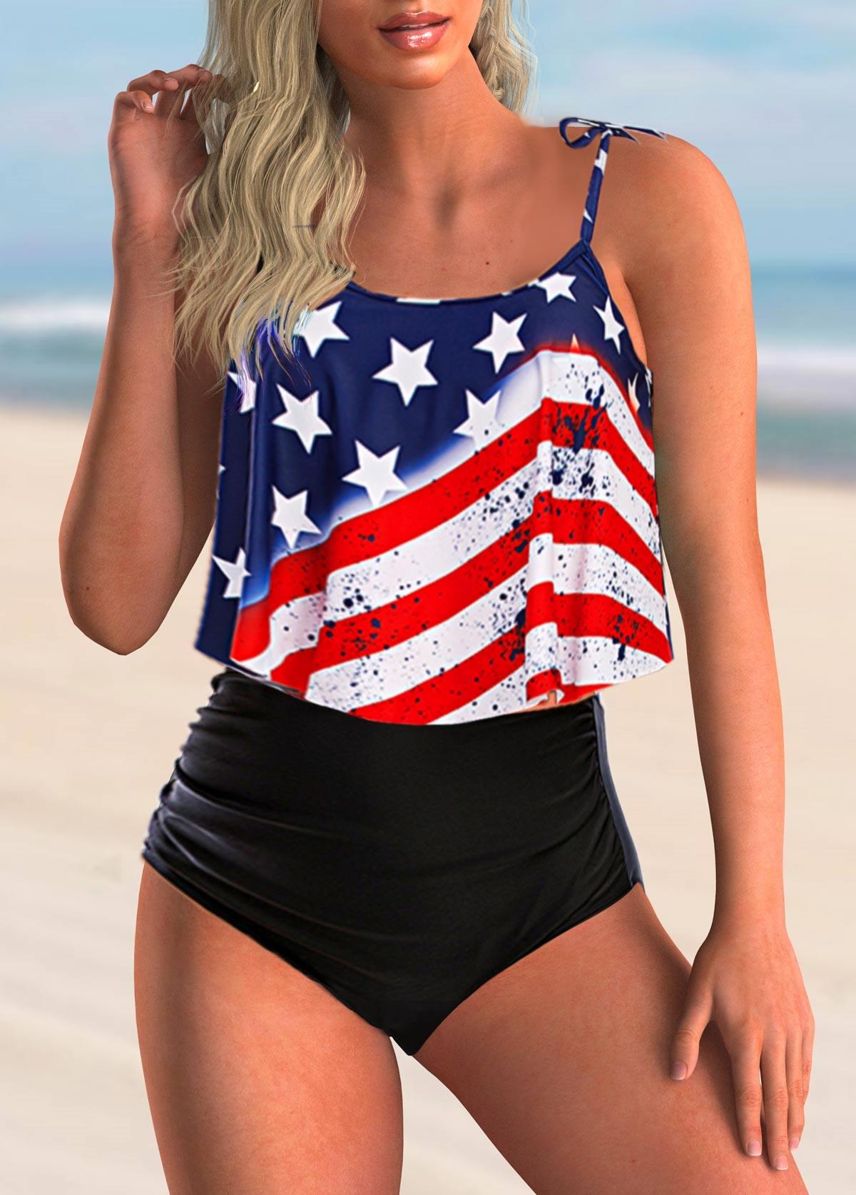 American Flag Print High Waisted Bikini Set