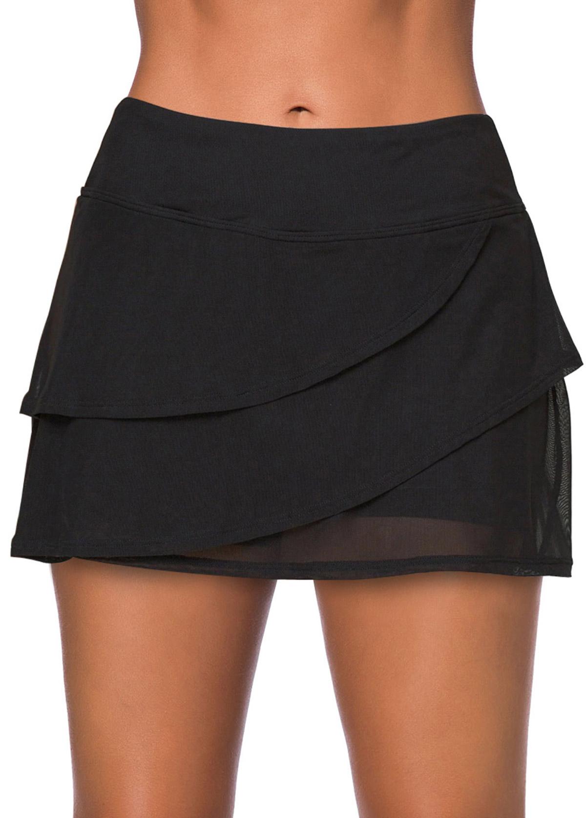 Black High Waisted Layered Swim Skirt