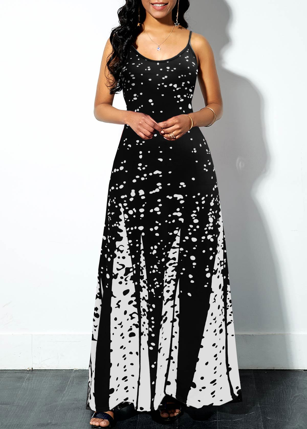 Spaghetti Strap Printed Swing Dress