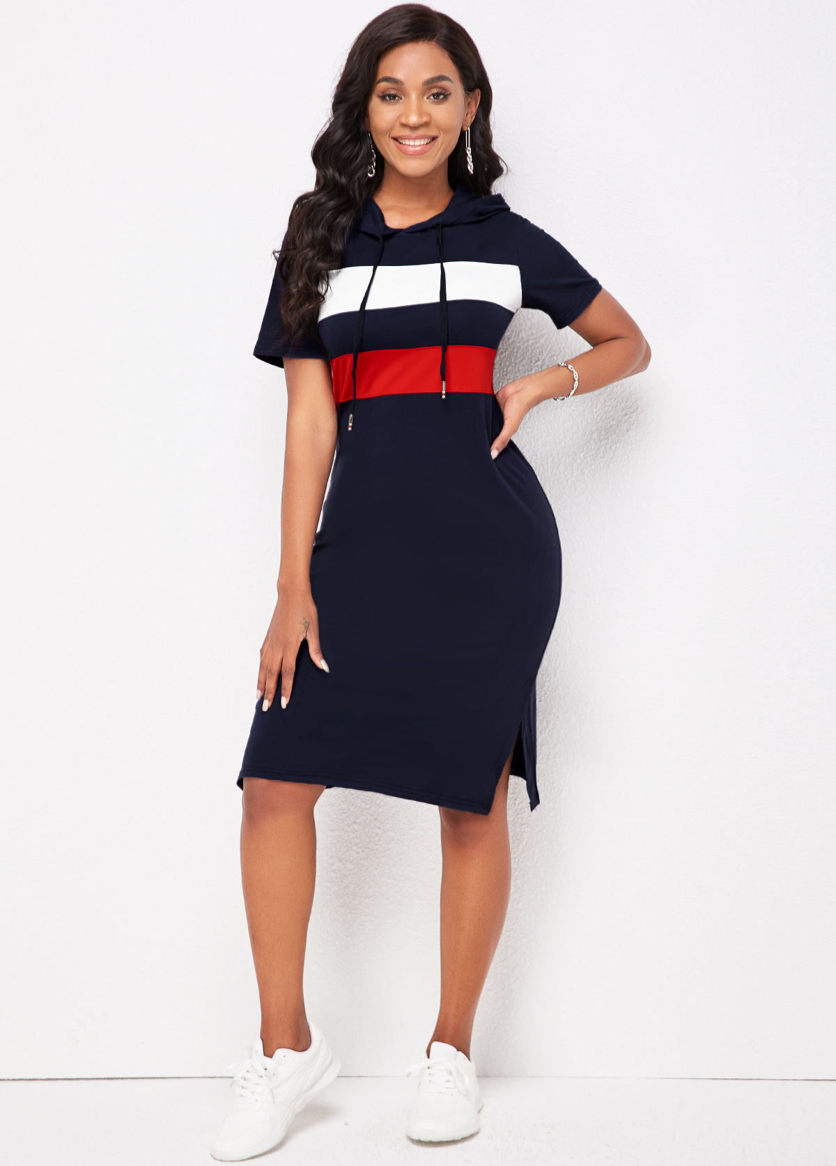 Hooded Collar Striped Short Sleeve Dress
