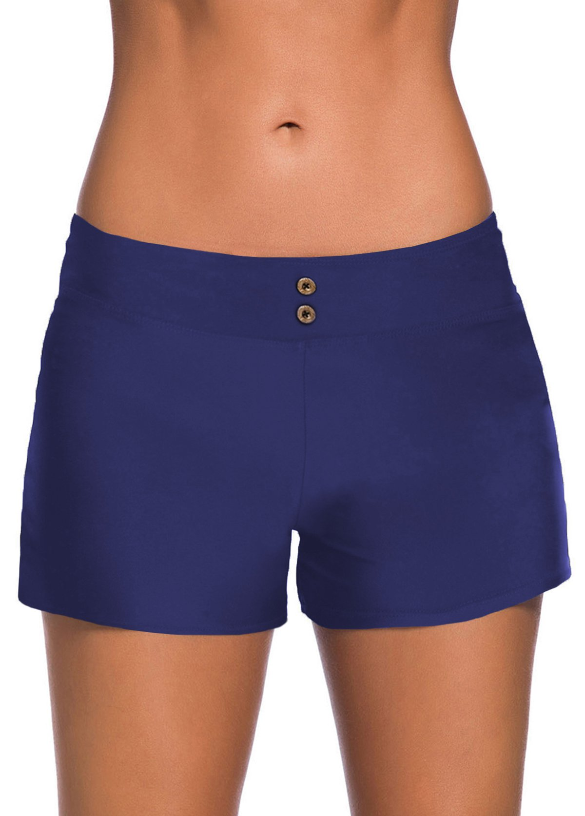 Elastic Waist Button Detail Mid Waist Swim Shorts