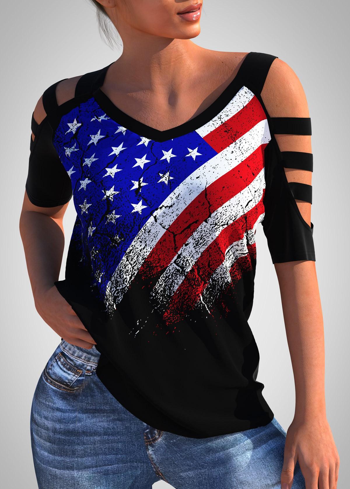 American Flag Print Ladder Cutout T Shirt
