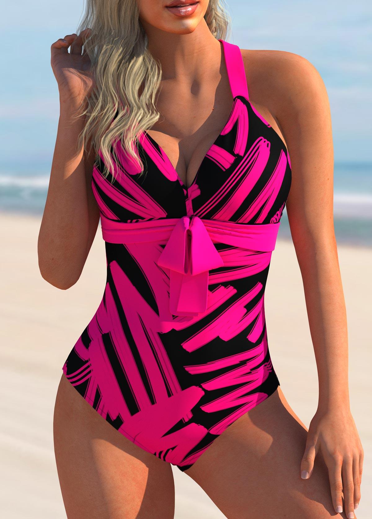 Geometric Print Bowknot One Piece Swimwear