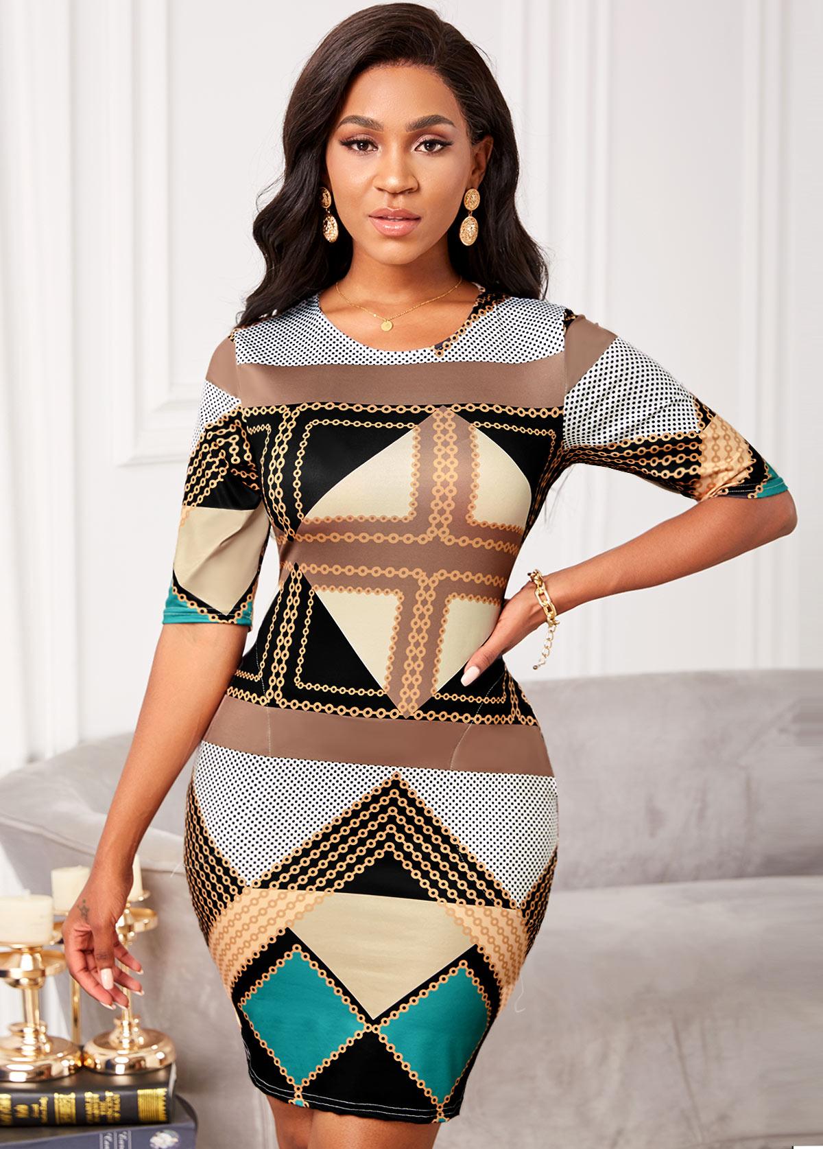 Geometric Print Round Neck Half Sleeve Dress