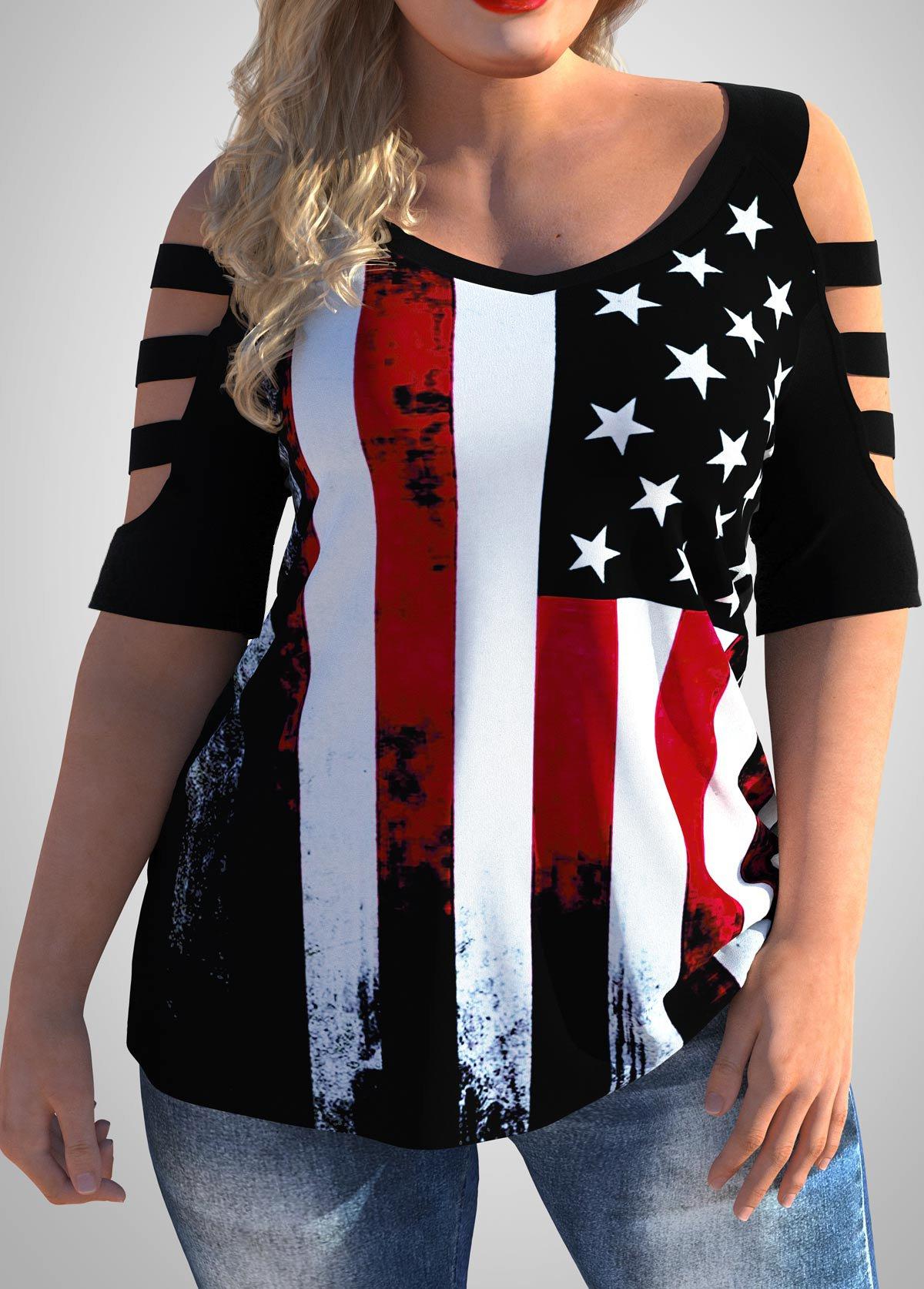 Plus Size American Flag Print Cold Shoulder T Shirt