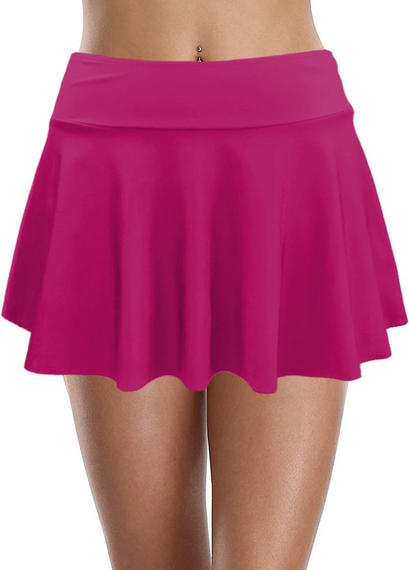 High Waist Ruffle Hem Swim Skirt