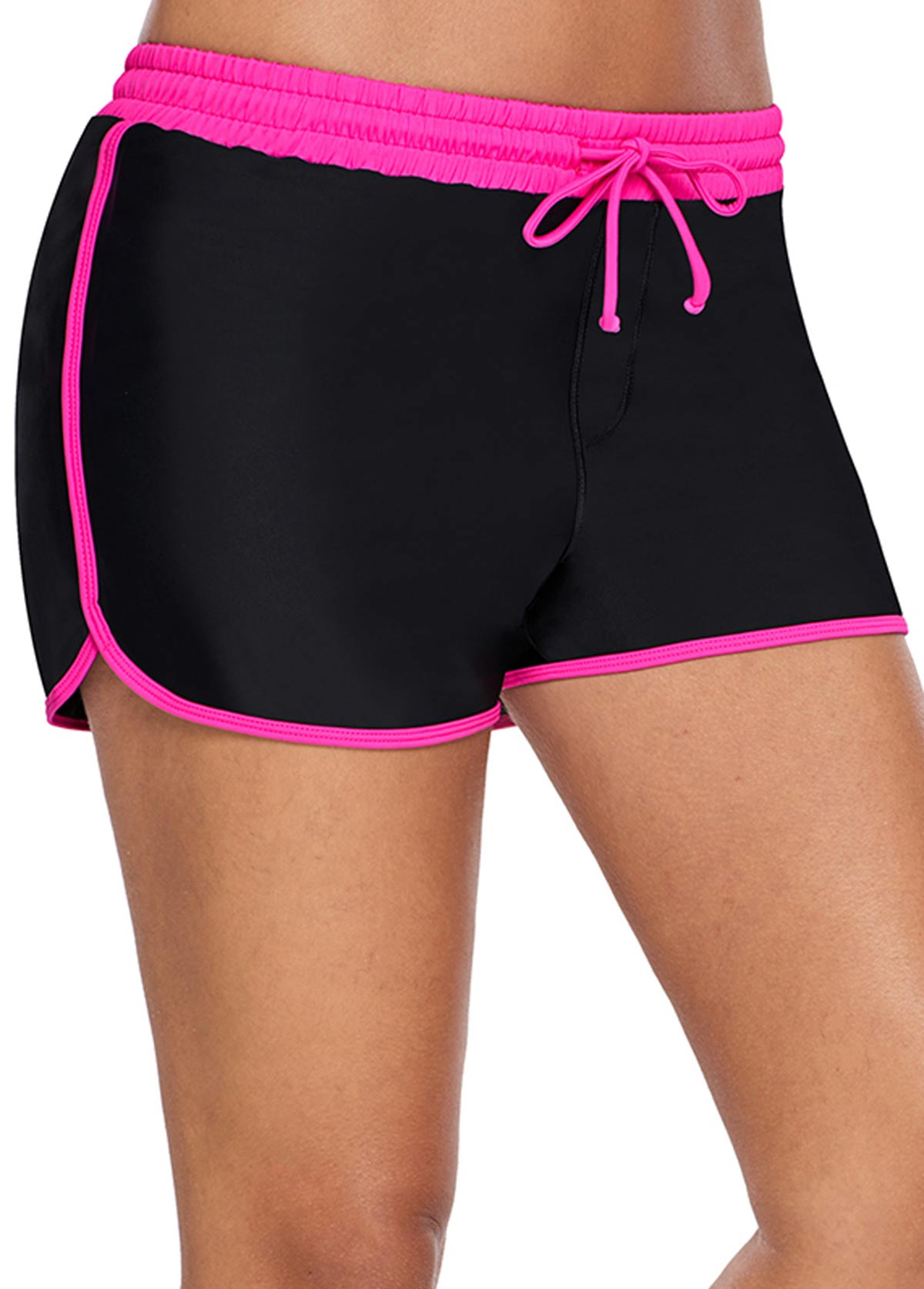 Color Block High Waisted Drawstring Waist Swim Shorts