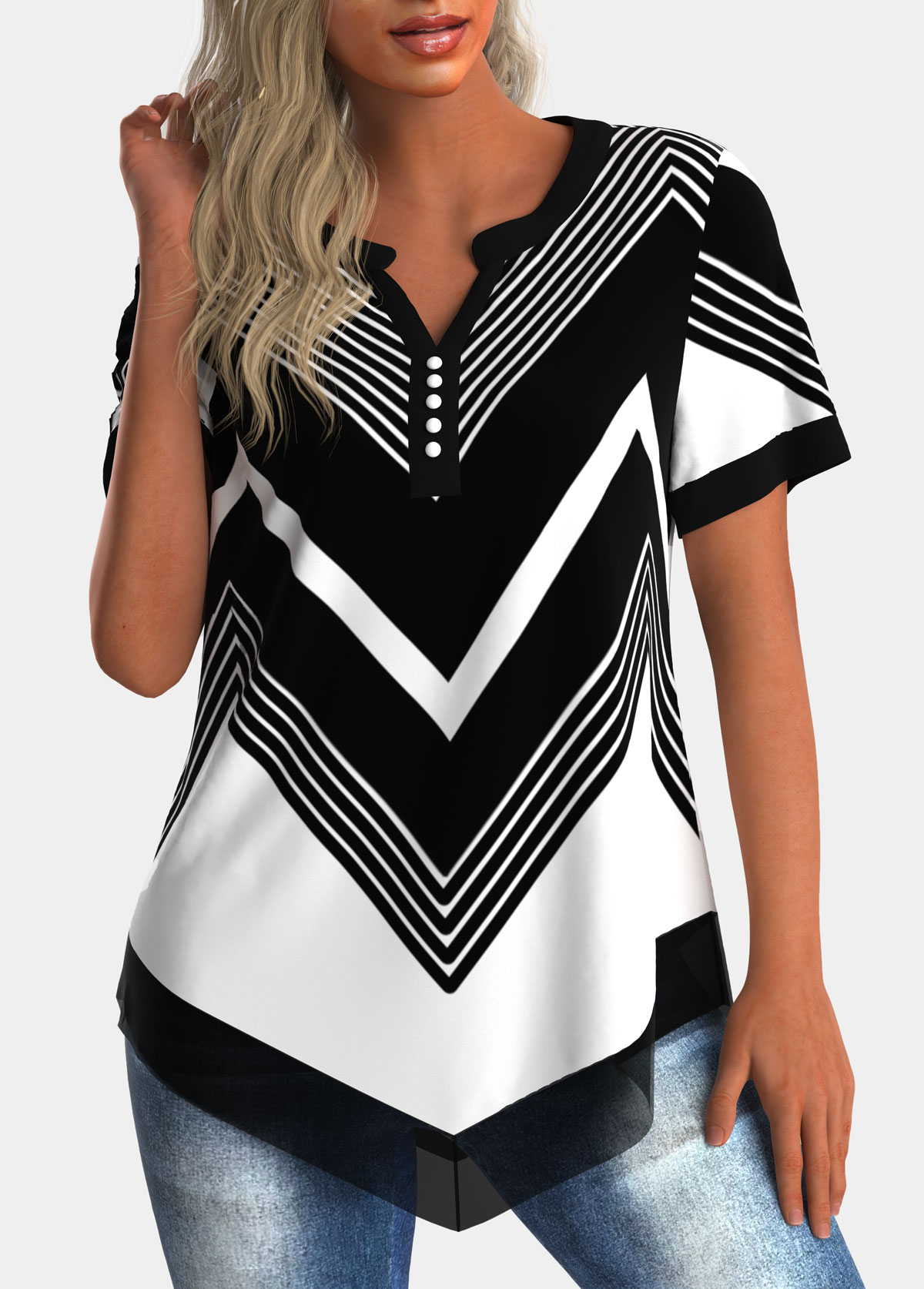 Asymmetric Hem Chiffon Panel Geometric Print Blouse