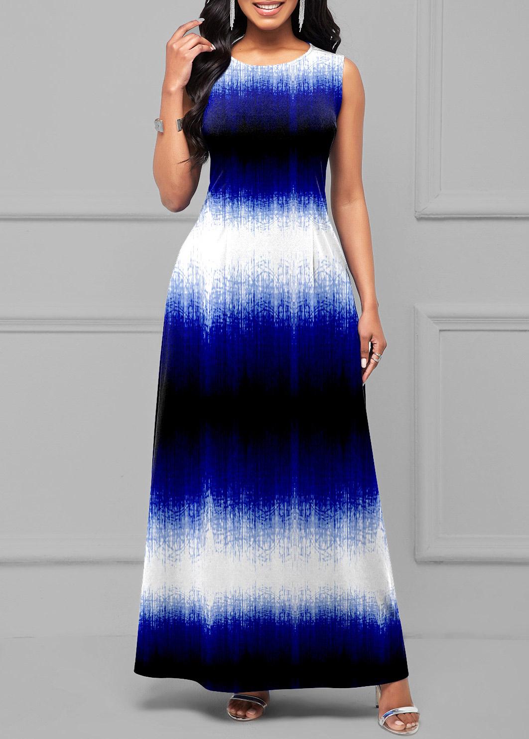 Ombre Round Neck Sleeveless Maxi Dress